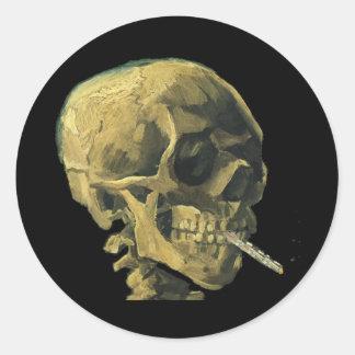 Scull with Cigarette Round Sticker