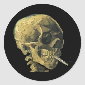 Scull with Cigarette Stickers