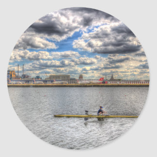 Sculling at London City Airport Round Sticker