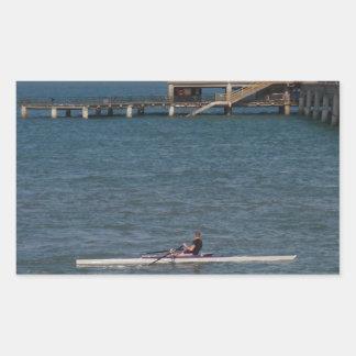 Sculling On The Sea Rectangular Sticker