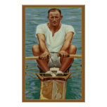 Sculling Rowers Rowing Vintage Sports Mens Athlete Poster