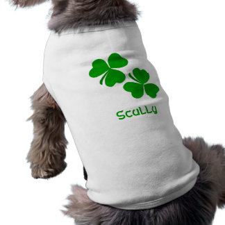 Scully Irish Shamrock Name Sleeveless Dog Shirt