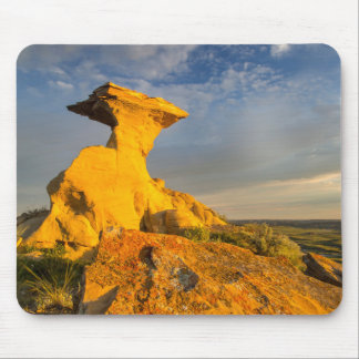 Sculpted Badlands Formation In Short Grass Mouse Mat