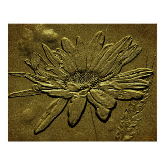Sculpted Golden Daisy Floral Print