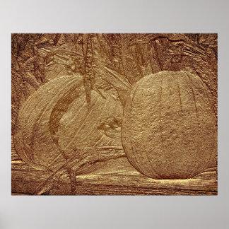 Sculpted Pumpkins Cornstalks Autumn Print
