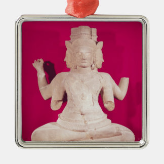 Sculpture of Brahma with four faces 2 Silver-Colored Square Decoration
