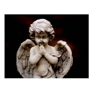 Sculpture of Cupid Angel, Memorial, Condolence Postcard