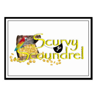 Scurvy Scoundrel Text w/Pirate Treasure Chest Business Card Templates