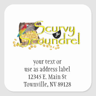 Scurvy Scoundrel Text w/Pirate Treasure Chest Square Sticker