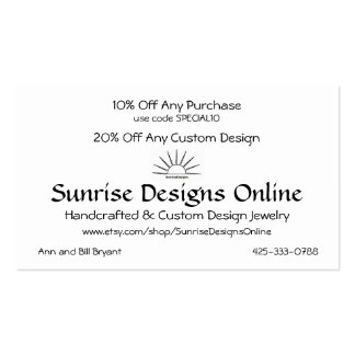 SDO Percent Off Card Double-Sided Standard Business Cards (Pack Of 100)