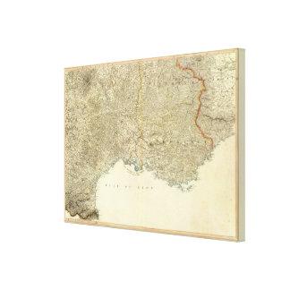 SE France Atlas Map Canvas Print