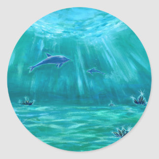 Sea 3 of crystal and dolphin round sticker