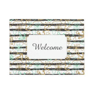 Sea Anchor Pattern | Add Your Text Doormat