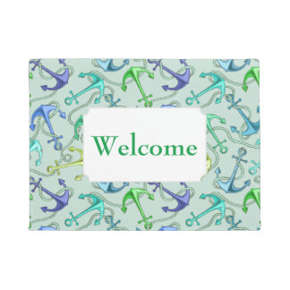 Sea Anchors And Rope Pattern | Add Your Text Doormat