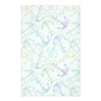 Sea Anchors And Rope Pattern Stationery Paper