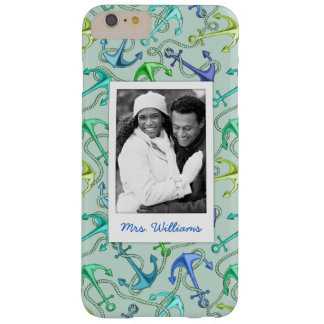 Sea Anchors And Rope Pattern | Your Photo & Name Barely There iPhone 6 Plus Case
