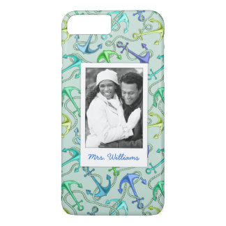 Sea Anchors And Rope Pattern | Your Photo & Name iPhone 8 Plus/7 Plus Case
