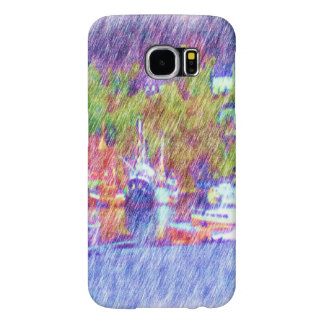 Sea and boat drawing samsung galaxy s6 cases
