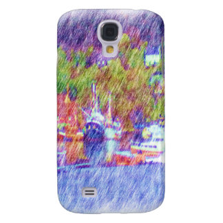 Sea and boat drawing galaxy s4 case