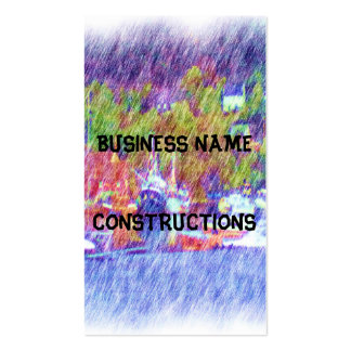 Sea and boat drawing pack of standard business cards