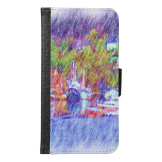 Sea and boat drawing samsung galaxy s6 wallet case