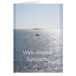 Sea and Boat - Sympathy Blank Greeting Cards