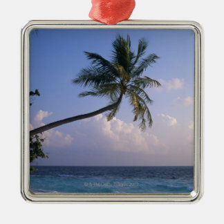 Sea and Palm Tree Silver-Colored Square Decoration