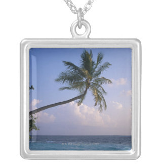 Sea and Palm Tree Silver Plated Necklace