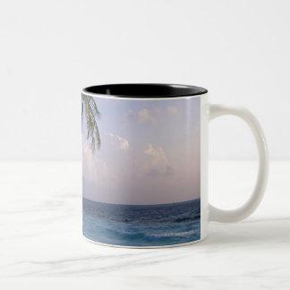 Sea and Palm Tree Two-Tone Coffee Mug