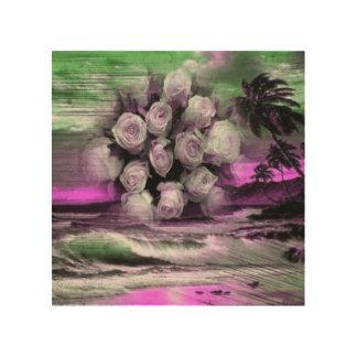 Sea and roses in purple wood print