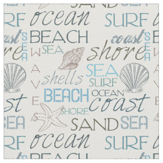 Sea and Surf Beach Typography and Shells Fabric
