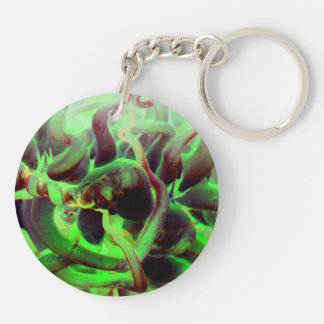 Sea anenome red green photo Double-Sided round acrylic key ring