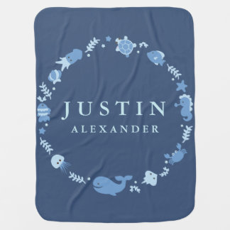 Sea Animals Border Baby Blanket