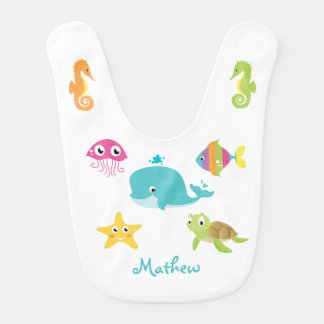 Sea animals: whale, seahorse, starfish Baby bip Bib