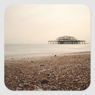Sea at Brighton Beach Square Sticker