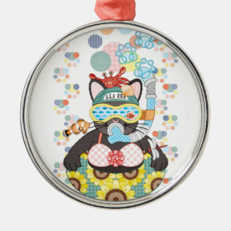 Sea bathing cat in summer Silver-Colored round decoration