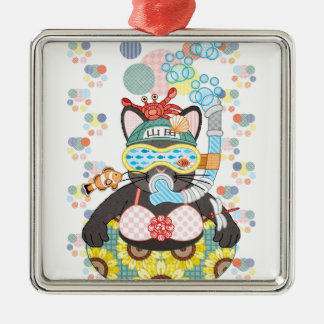 Sea bathing cat in summer Silver-Colored square decoration