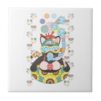 Sea bathing cat in summer small square tile