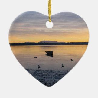 Sea Birds and Boat Ceramic Heart Decoration
