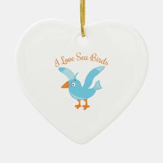 Sea Birds Double-Sided Heart Ceramic Christmas Ornament