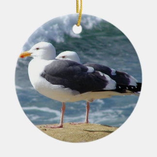 Sea Birds Double-Sided Ceramic Round Christmas Ornament