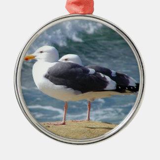 Sea Birds Silver-Colored Round Decoration