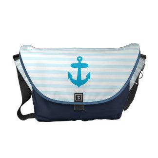 Sea Blue Anchor and baby blue Sailor Stripes Courier Bag