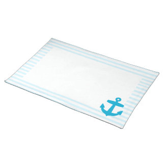 Sea Blue Anchor and baby blue Sailor Stripes Placemat