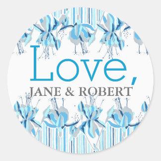 Sea Blue Fuschia Wedding Round Sticker