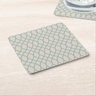 Sea Blue Geometric Square Paper Coaster