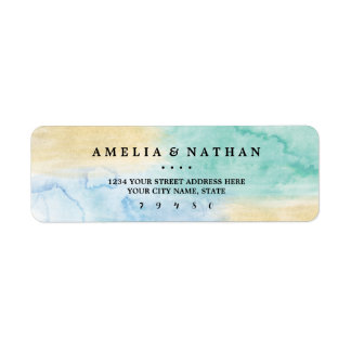 Sea Blue Gold Watercolor Wedding Address Label