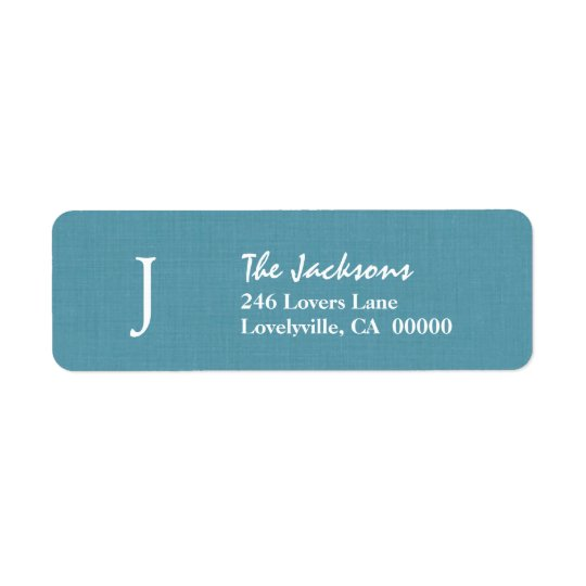 SEA BLUE Simple Monogram J or Any Initial A009 Return Address Label
