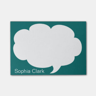 Sea Blue Talk Bubble Rounded Personalized Post-it Notes