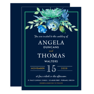 Sea Blue Watercolor Flowers Wedding Invitation